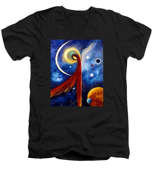 Men's V-Neck T-Shirt featuring the painting Lunar Angel by Marina Petro