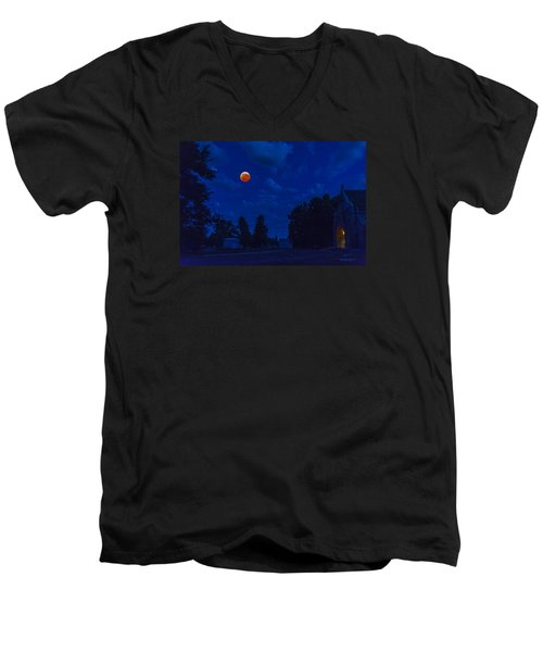 Men's V-Neck T-Shirt featuring the photograph Lunar Eclipse At The Ivy Chapel by Stephen  Johnson