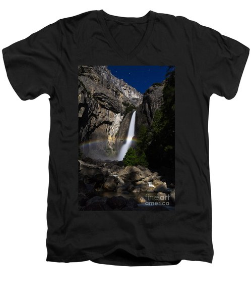 Men's V-Neck T-Shirt featuring the photograph Lunar Rainbow by Vincent Bonafede