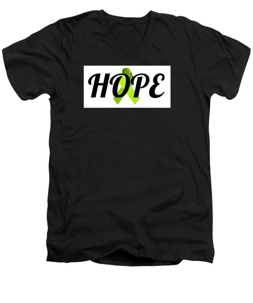 Lyme Awareness Ribbon Of Hope Men's V-Neck T-Shirt by Laura Michelle Corbin