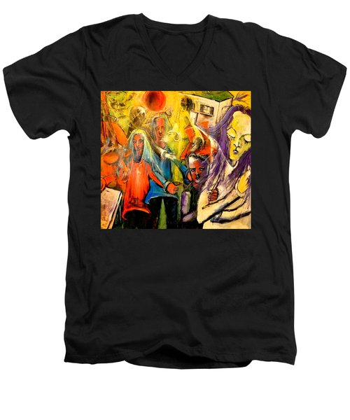 Men's V-Neck T-Shirt featuring the painting Macabre Setting For Disjointed Family Expectations by Kenneth Agnello