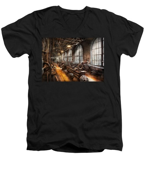 Machinist - A Room Full Of Lathes  Men's V-Neck T-Shirt