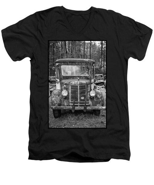 Mack Truck In A Junkyard Men's V-Neck T-Shirt