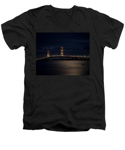 Mackinac Bridge At Night Men's V-Neck T-Shirt