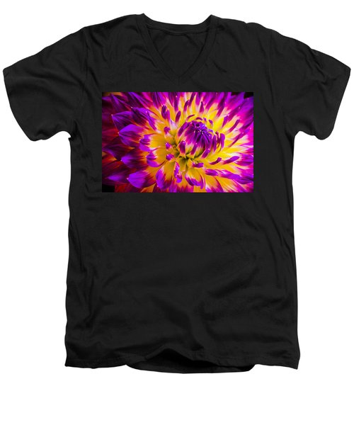 Macro Flora Men's V-Neck T-Shirt by Bruce Pritchett