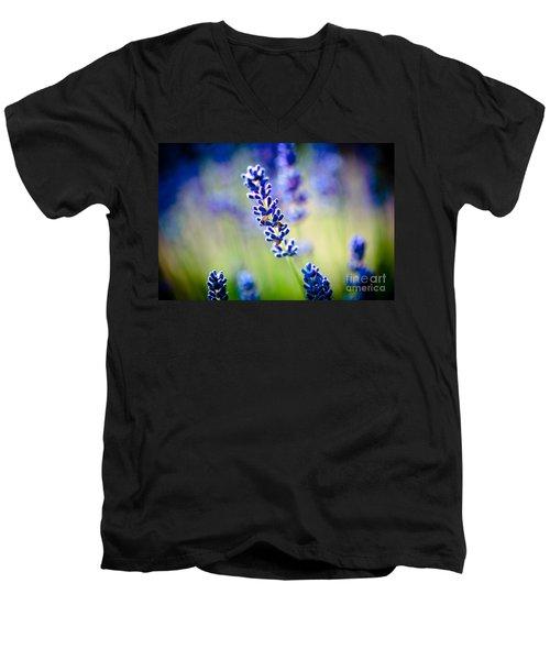 Macro Lavander Flowers In Lavender Field Artmif Men's V-Neck T-Shirt