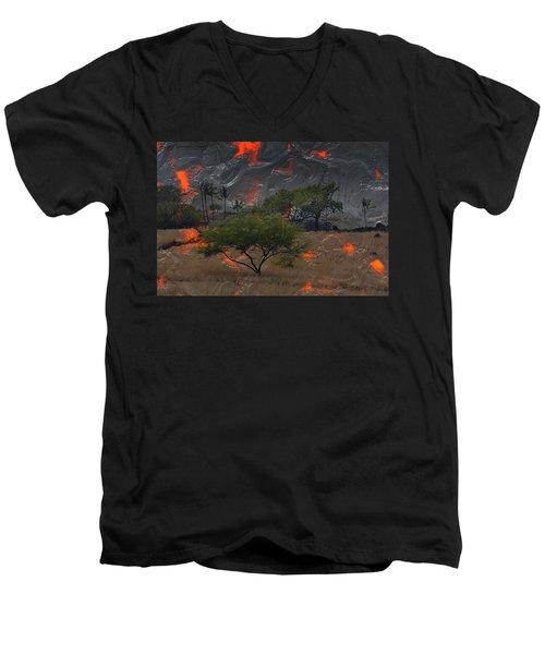 Madam Pele Approaches Men's V-Neck T-Shirt