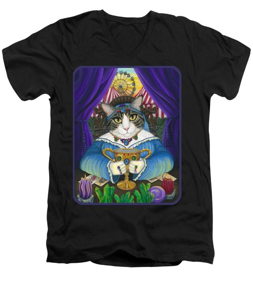 Men's V-Neck T-Shirt featuring the painting Madame Zoe Teller Of Fortunes - Queen Of Cups by Carrie Hawks