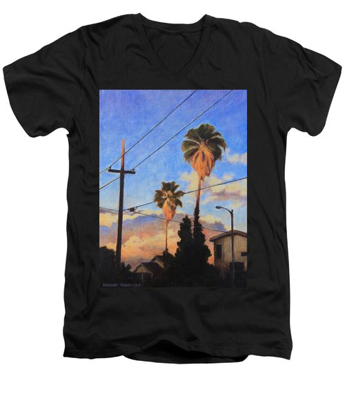 Men's V-Neck T-Shirt featuring the painting Madison Ave Sunset by Andrew Danielsen
