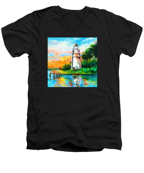 Men's V-Neck T-Shirt featuring the painting Madisonville Sunset by Dianne Parks