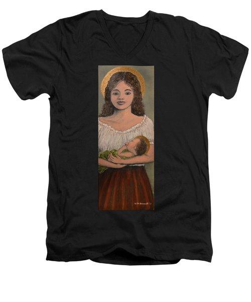 Madonna Of The Red Skirt Men's V-Neck T-Shirt