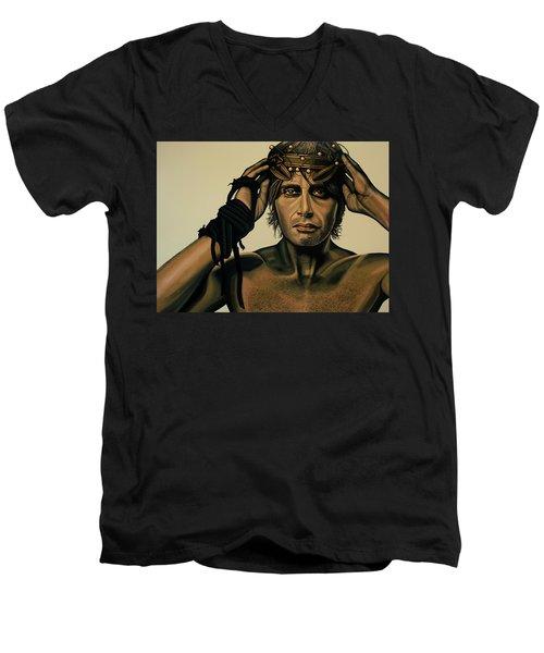 Mads Mikkelsen Painting Men's V-Neck T-Shirt by Paul Meijering