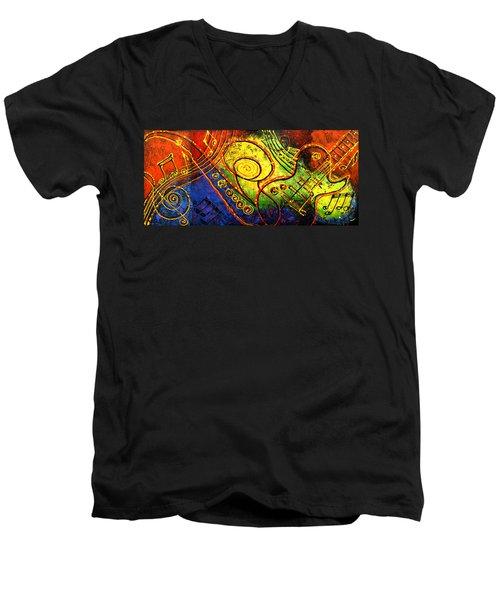 Magic Guitar Men's V-Neck T-Shirt by Leon Zernitsky