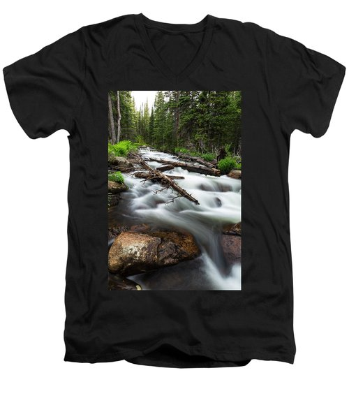 Men's V-Neck T-Shirt featuring the photograph Magic Mountain Stream by James BO Insogna