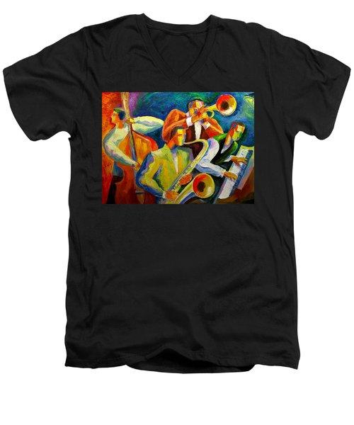Magic Music Men's V-Neck T-Shirt by Leon Zernitsky