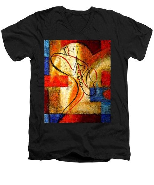 Magic Saxophone Men's V-Neck T-Shirt by Leon Zernitsky