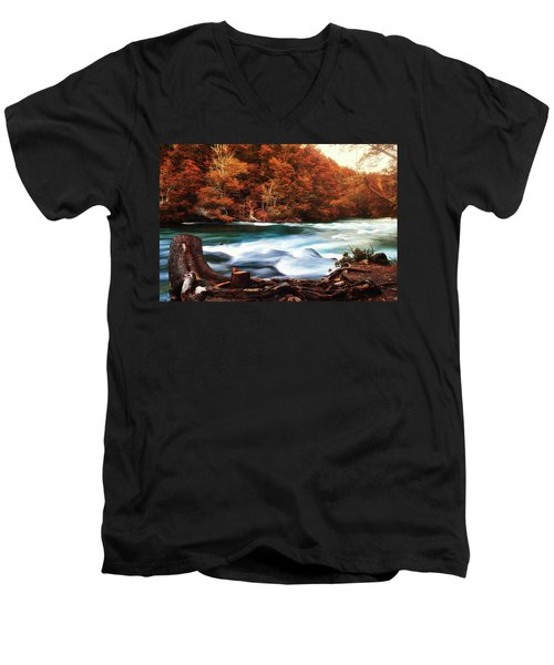 Autumnal Landscape With Lake In The Argentine Patagonia Men's V-Neck T-Shirt