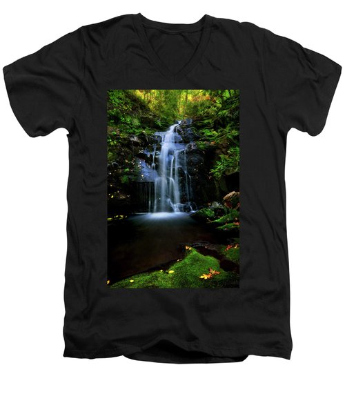 Magical Waterfall Above Spruce Falls In Tremont Smoky Mountains Tennessee  Men's V-Neck T-Shirt
