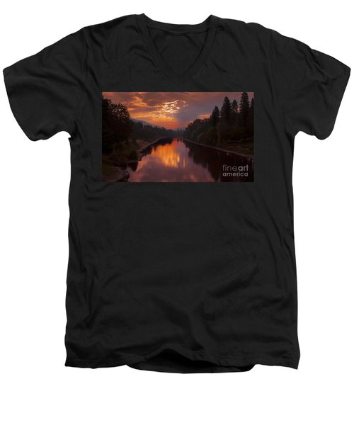 Magnificent Clouds Over Rogue River Oregon At Sunset  Men's V-Neck T-Shirt by Jerry Cowart