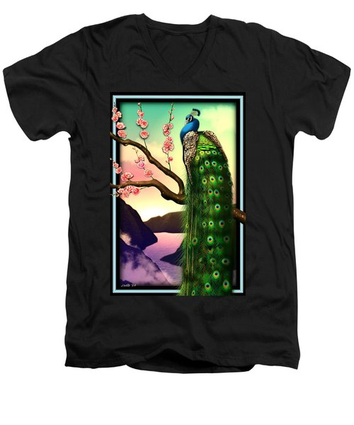 Magnificent Peacock On Plum Tree In Blossom Men's V-Neck T-Shirt