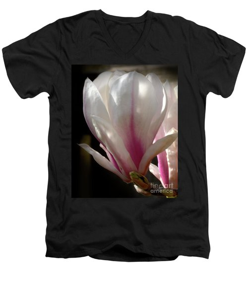 Men's V-Neck T-Shirt featuring the photograph Magnolia Bloom by Stephen Melia
