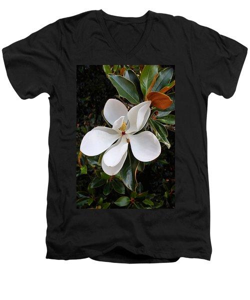 Magnolia Blossom Men's V-Neck T-Shirt by Kristin Elmquist