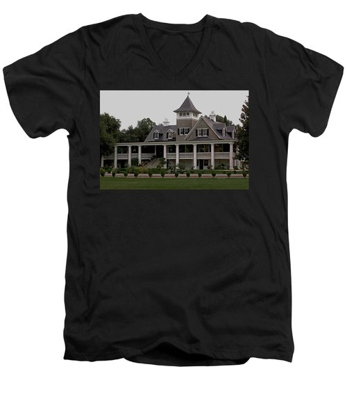 Magnolia Plantation Home Men's V-Neck T-Shirt by DigiArt Diaries by Vicky B Fuller