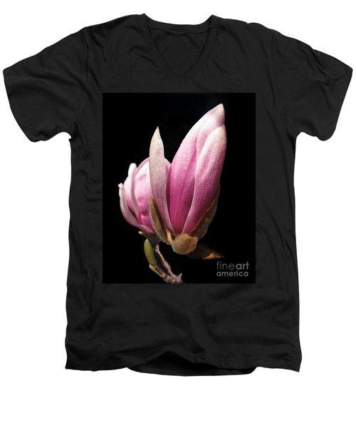 Magnolia Tulip Tree Blossom Men's V-Neck T-Shirt