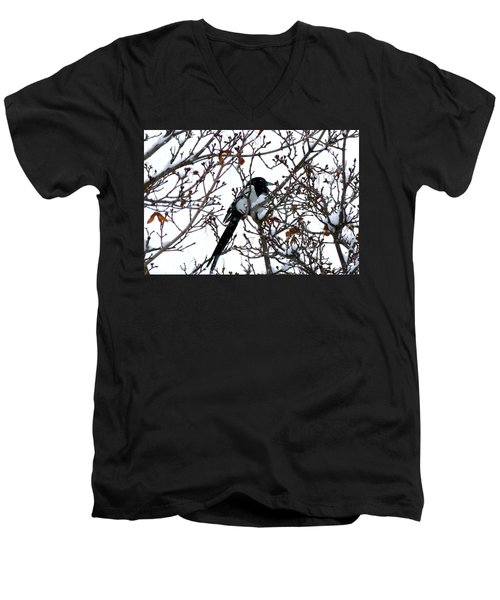 Men's V-Neck T-Shirt featuring the photograph Magpie In A Snowstorm by Will Borden