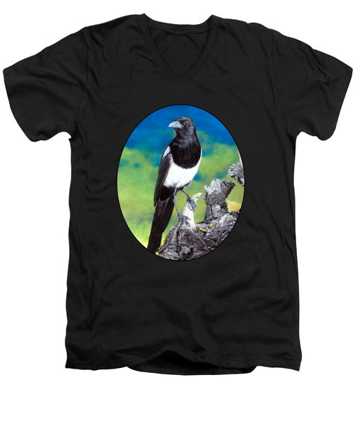 Magpie Men's V-Neck T-Shirt by Kelly Strope