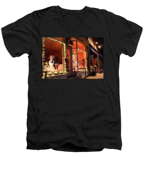 Men's V-Neck T-Shirt featuring the photograph Main Street During The Holiday Season by Sven Kielhorn