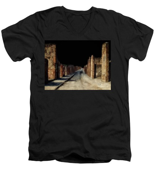 Men's V-Neck T-Shirt featuring the digital art Main Street, Pompeii by Lois Bryan