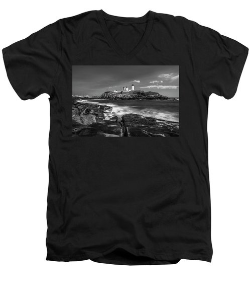 Maine Cape Neddick Lighthouse In Bw Men's V-Neck T-Shirt by Ranjay Mitra