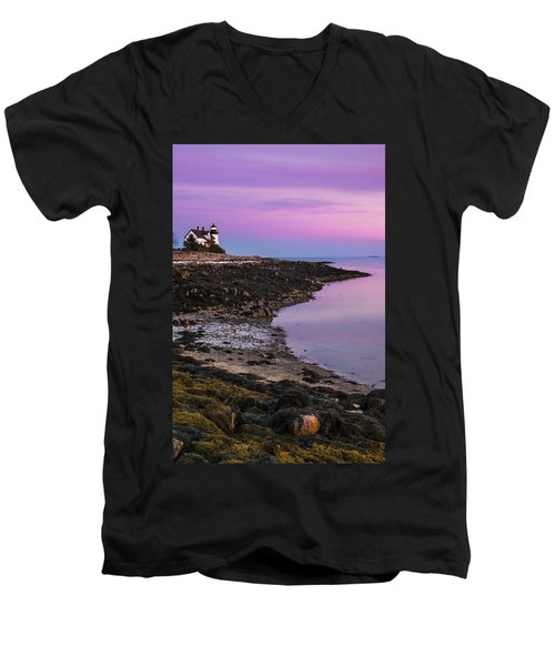 Men's V-Neck T-Shirt featuring the photograph Maine Prospect Harbor Lighthouse Sunset In Winter by Ranjay Mitra