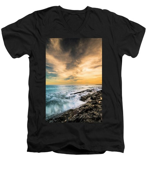 Men's V-Neck T-Shirt featuring the photograph Maine Rocky Coastal Sunset by Ranjay Mitra