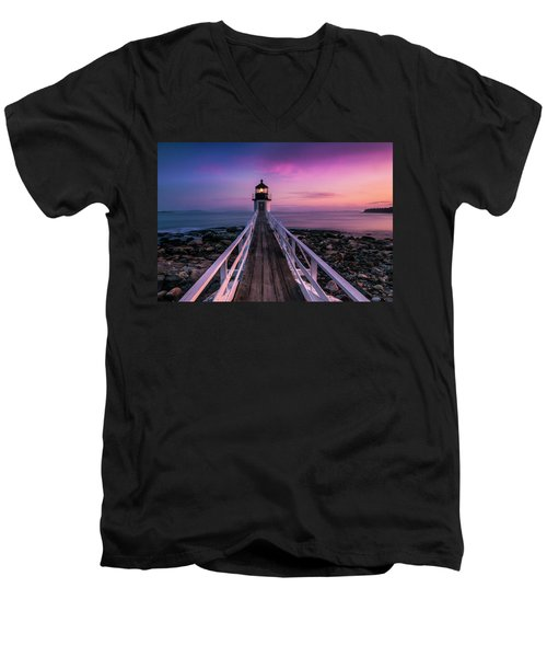 Maine Sunset At Marshall Point Lighthouse Men's V-Neck T-Shirt by Ranjay Mitra