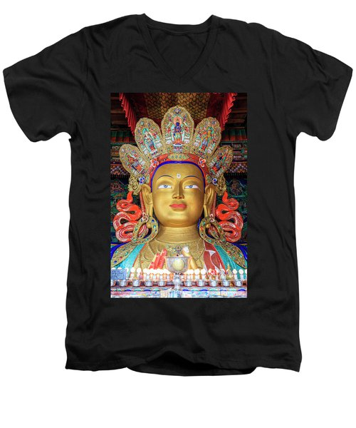 Men's V-Neck T-Shirt featuring the photograph Maitreya Buddha Statue by Alexey Stiop