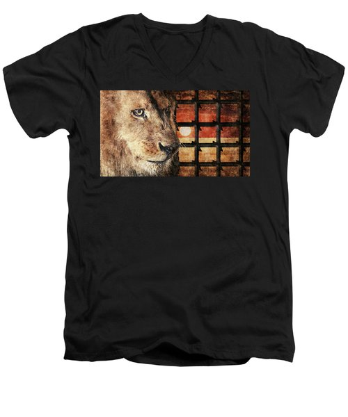 Majestic Lion In Captivity Men's V-Neck T-Shirt by Anton Kalinichev