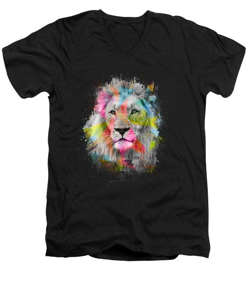 Majestic Male Lion Men's V-Neck T-Shirt by Carsten Reisinger