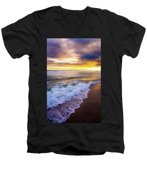 Men's V-Neck T-Shirt featuring the photograph Majestic Sunset In Paradise by Shelby Young