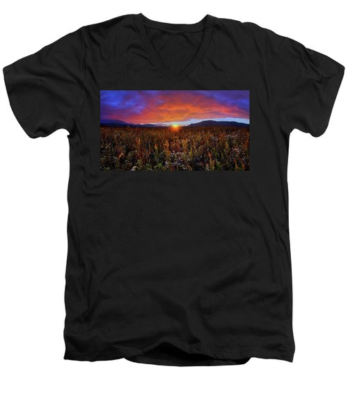 Majestic Sunset Over Cades Cove In Smoky Mountains National Park Men's V-Neck T-Shirt