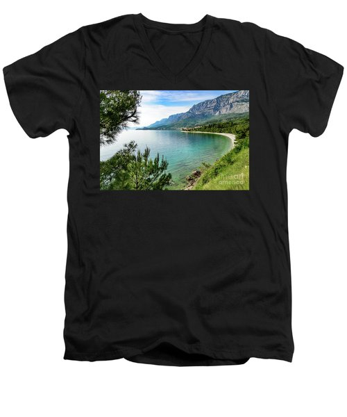 Makarska Riviera White Stone Beach, Dalmatian Coast, Croatia Men's V-Neck T-Shirt