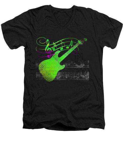 Men's V-Neck T-Shirt featuring the digital art Making Music by Guitar Wacky