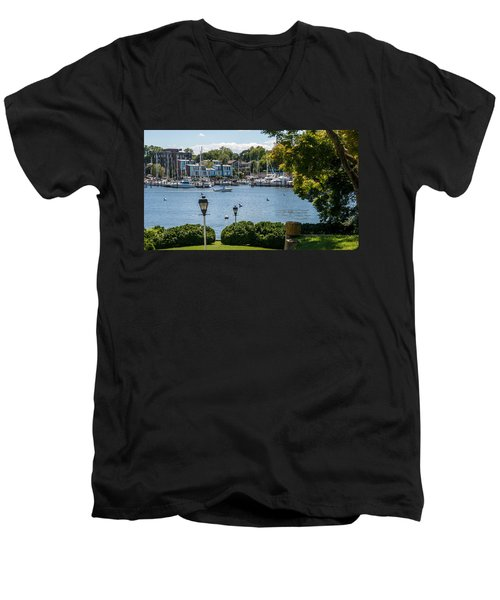 Men's V-Neck T-Shirt featuring the photograph Making Way Up Creek by Charles Kraus