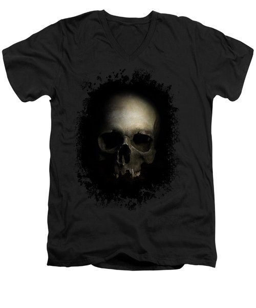 Male Skull Men's V-Neck T-Shirt by Jaroslaw Blaminsky