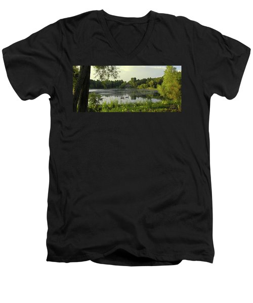 Mallards Lake II Men's V-Neck T-Shirt by Doug Kreuger