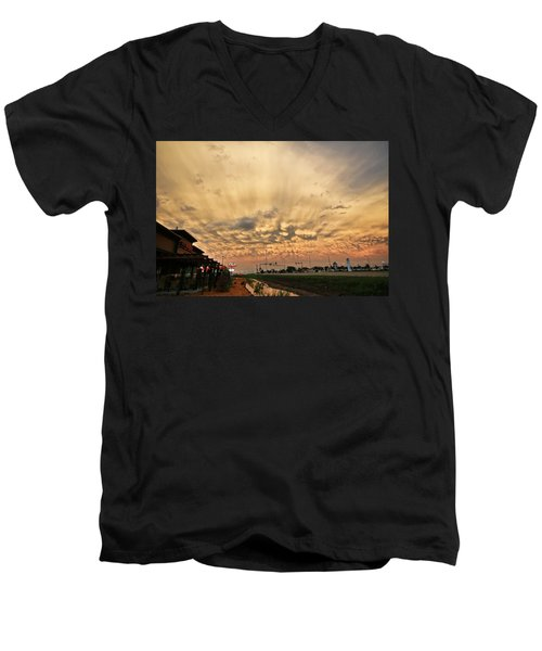 Men's V-Neck T-Shirt featuring the photograph Mammatus Over Yorkton Sk by Ryan Crouse