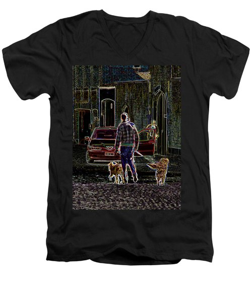 Man And Best Friends Men's V-Neck T-Shirt by Rhonda McDougall