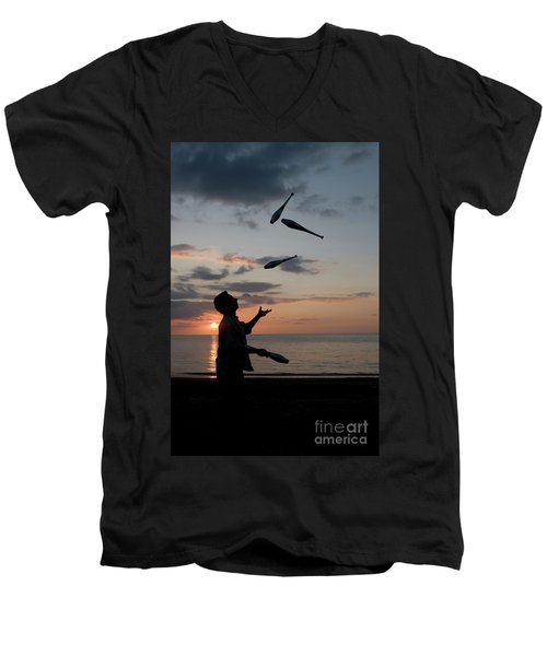 Man Juggling With Four Clubs At Sunset Men's V-Neck T-Shirt