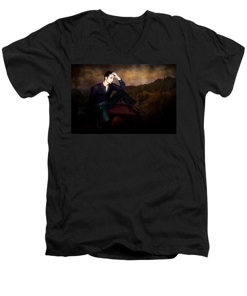 Man On A Bench Men's V-Neck T-Shirt by Jeff Burgess